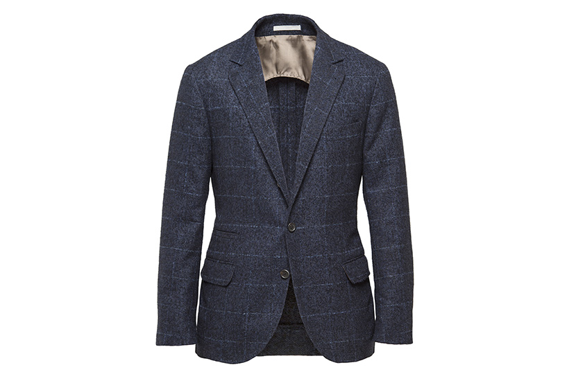 The Boucle Check Notch Lapel Plaid Jacket from Brunello Cucinelli