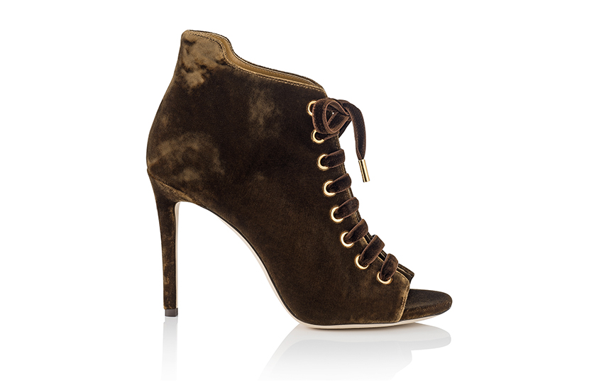 Amber Peep Toe Velvet Fashion Booties by Jimmy Choo