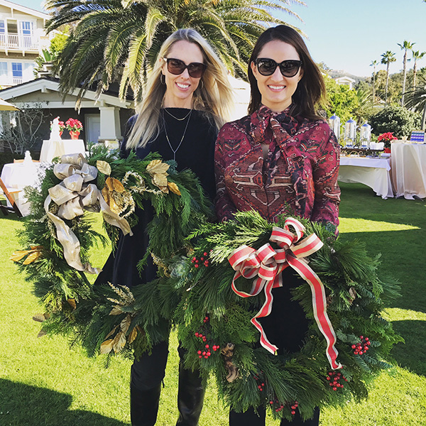 Kacey Bruno and Heather Raney host a festive wreath-making party