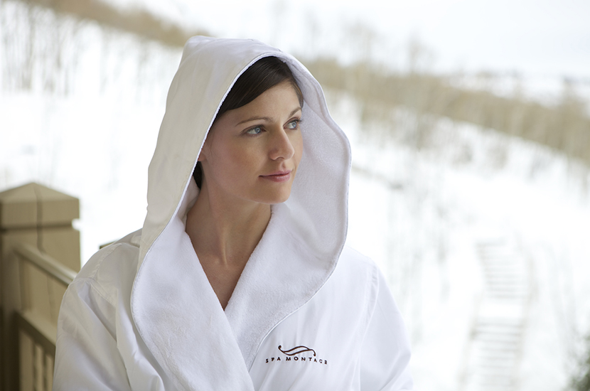 Montage Deer Valley Woman in robe