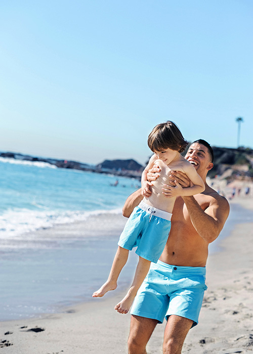 Father and Son on an Orange County Beach