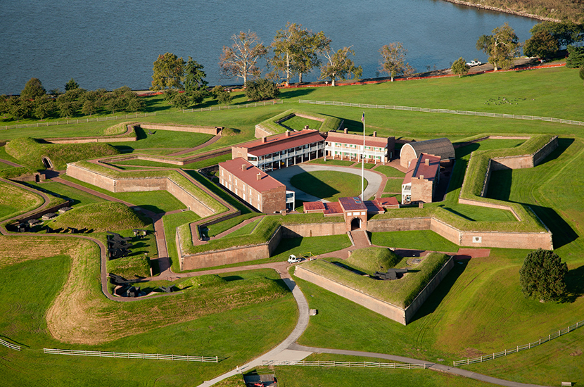 Historic grounds of the star-shaped Fort McHenry in Baltimore, MD