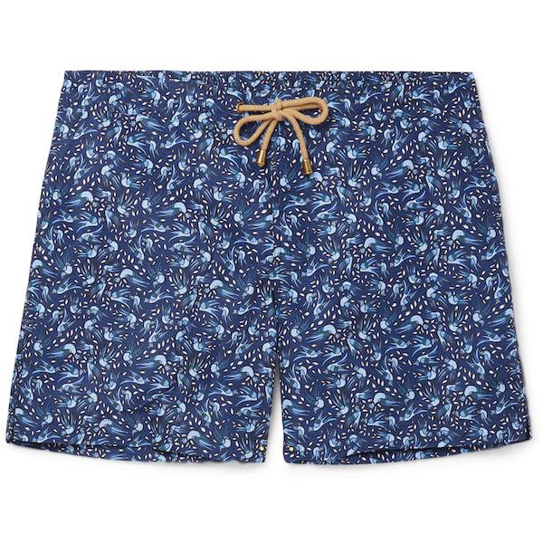 Thorsun's subtle print and contrast drawstring turn a simple swim short  into a statement. Titan Slim-Fit Mid-Length Printed Swim Shorts, $275,  thorsun.com.